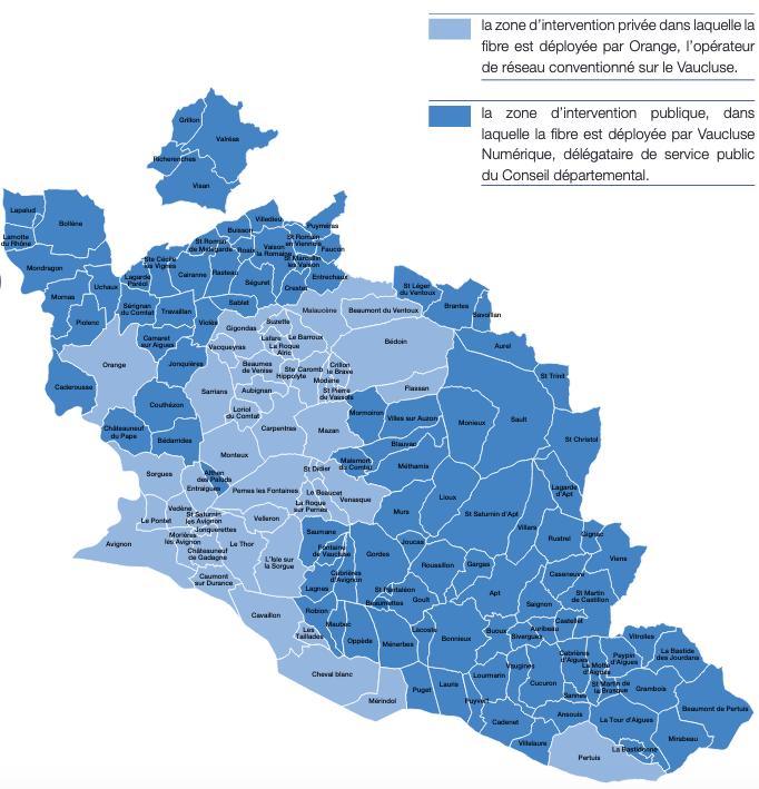 Carte du déploiement du FTTH Vaucluse
