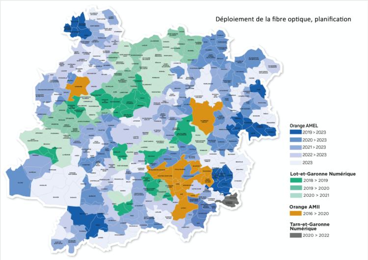 Carte Fibre Lot et Garonne