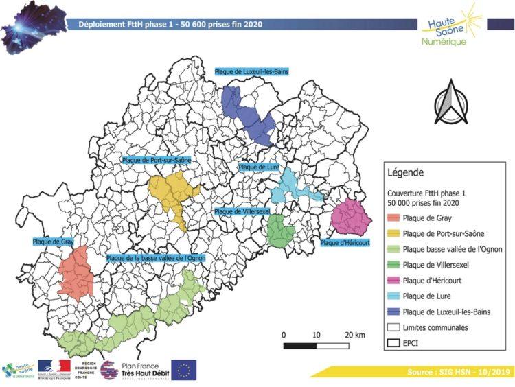 Carte du déploiement de la fibre dans l'AMII et la phase 1 du RIP de la Haute-Saône