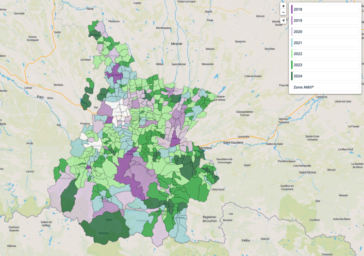 Carte des déploiements de la fibre dans l'AMII et le RIP des Hautes Pyrénées