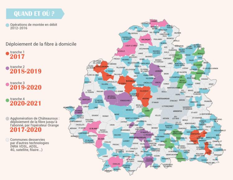 Carte des déploiements FTTH dans l'AMII et le RIP de l'Indre