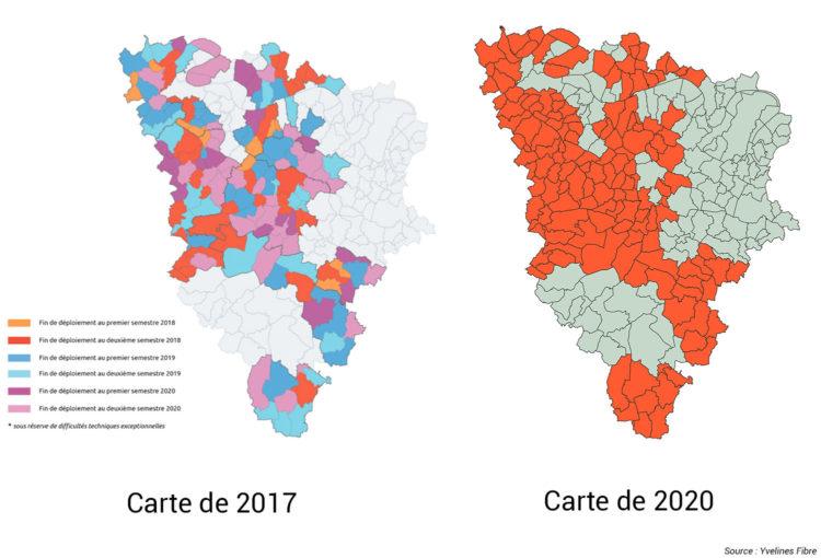 Carte des déploiements FTTH de Yvelines Fibre