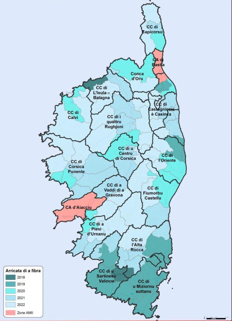 Carte des déploiements de la fibre dans l'AMII et le RIP en Corse