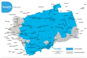 Carte des déploiements de la fibre dans la ville de Sainte-Anne par Dauphin Télécom