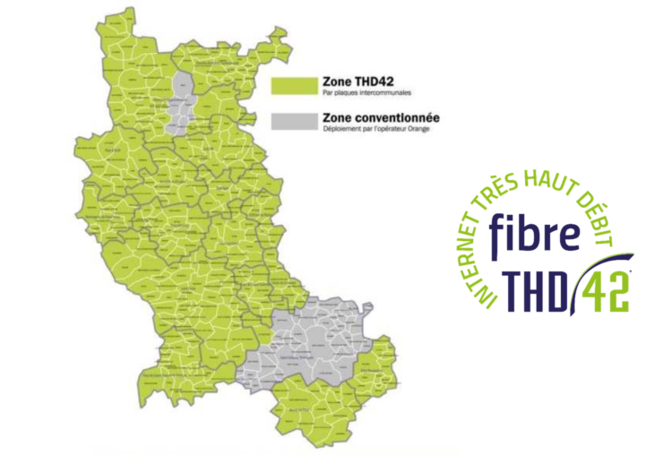 Carte du périmètre du RIP THD 42 / SIEL