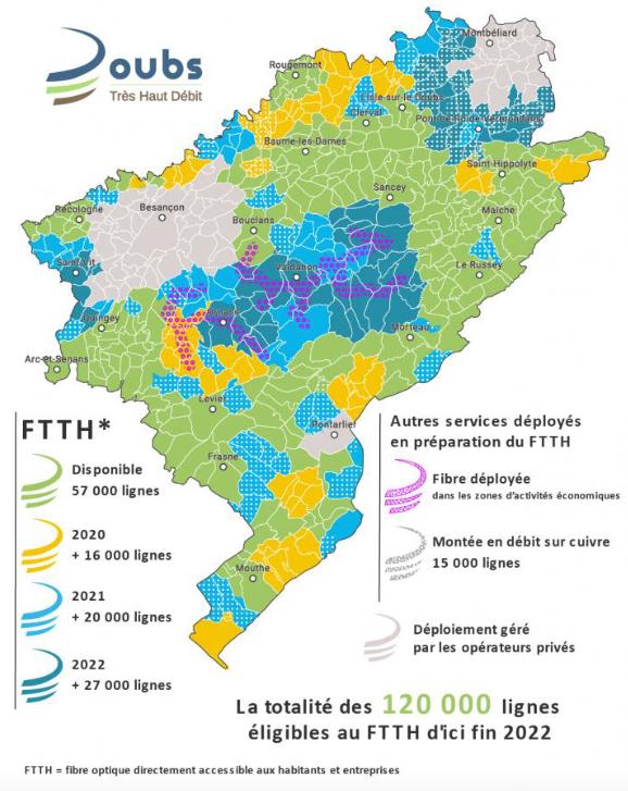 carte état et prévision déploiement thd doubs